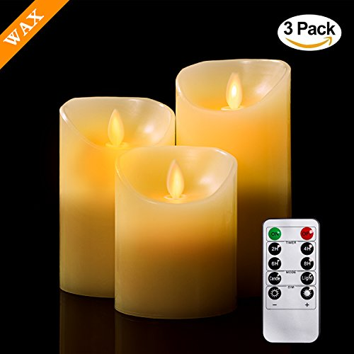 """Price comparison product image Flameless Candles,  TEECOO Flickering LED Candles 3.15"""" x H 4"""" 5"""" 6"""" Set Of 3 Real Wax Pillar Not Plastic With 10-key Remote Control Timer 300+ Hours (3"""