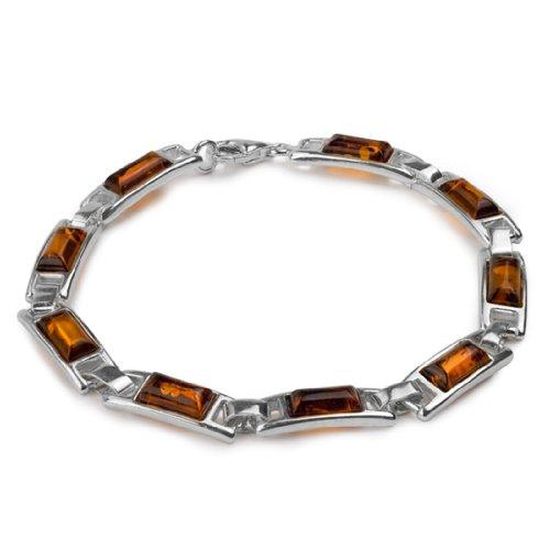 Sterling Silver Amber Rectangular Bracelet Length 7 Inches Rectangular Womens Bracelets