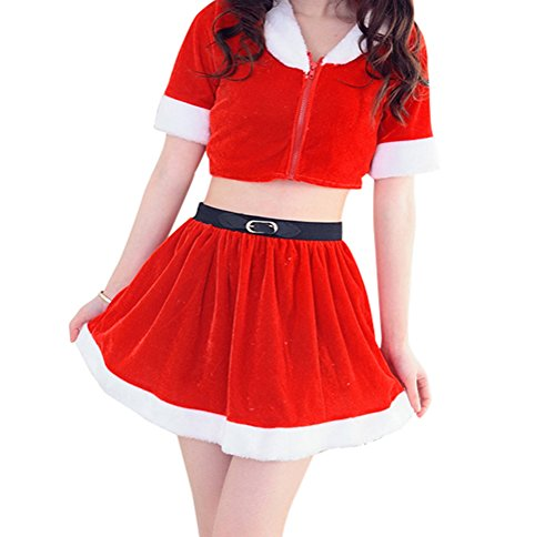 YFFaye Women's Red Christmas Nightclub Lead Dance Princess Skirt Split Costume (Professional Clown Shoes)