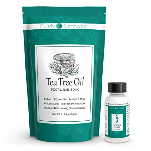 Tea Tree Oil Foot Soak with Epsom Salt 16 oz & Tea Tree Nail Solution 1 Fl oz - Two Part Foot & Toenail System- Helps Renew Discolored Toe and Finger Nails (Best Foot Soak For Nail Fungus)