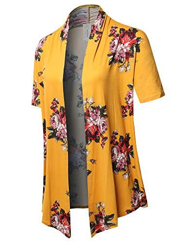 Solid Jersey Knit Draped Open Front Short Sleeves Cardigan Mustard Floral 1XL ()