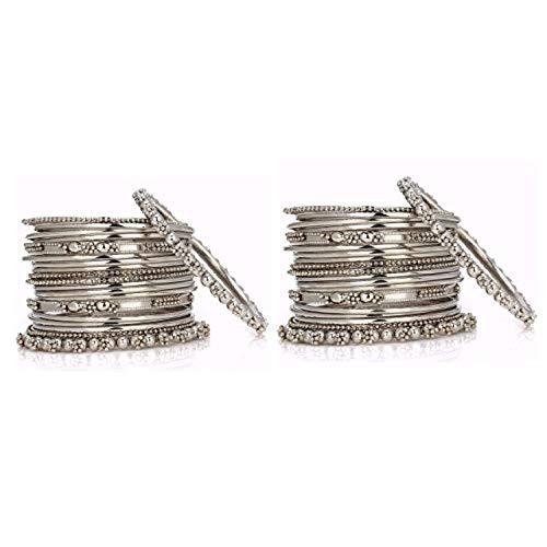 Efulgenz Boho Vintage Antique Ethnic Gypsy Tribal Indian Oxidized Silver Plated Combo Bracelet Bangles Set Jewelry