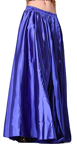 Hot Dance Costumes Belly (Astage Belly Dance Satin Full Circular Long Skirt, Hot Dance Costume Royal)