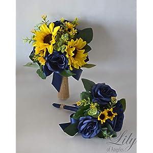 Wedding Bouquet, Bridal Bouquet, Bridesmaid Bouquet, Silk Flower Bouquet, Wedding Flower, Yellow, Sunflower, mini Sunflower, navy blue, blue, dark blue, navy, burlap, rustic, greenery, Lily of Angeles 2