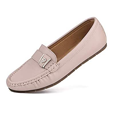 sorliva Penny Loafers for Women,Comfortable Leather Slip-On Driving Boat Moccasins Ballet Flats Shoes Beige Size: 6