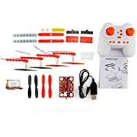 Owill 18Pcs DIY Blocks Flying Assembly Remote Control 2.4G 4CH UFO RC Aircraft Quadcopter Drone (Red)