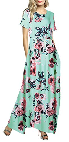 Afibi with Loose Maxi Sleeve Printed Floral Casual Green Pockets Women Dress Short ZCZr6aUq