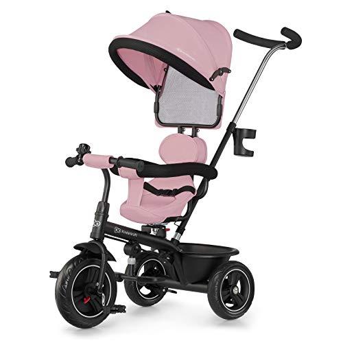 Kinderkraft driewieler FREEWAY, duwfiets, duwdriewieler, eerste kinderfiets, vrije wiel functie, met zonnekap, duwstang…