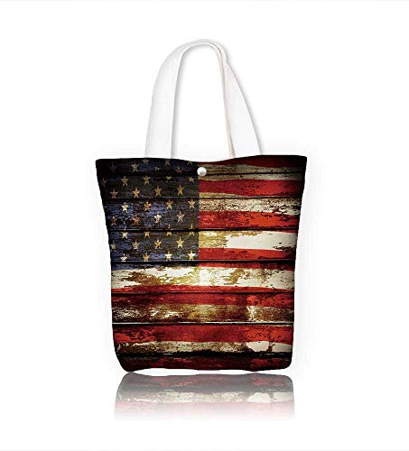 Ladies canvas tote bag Closeup of American flag on boards reusable shopping bag zipper handbag Print Design W12xH7.8xD3 ()