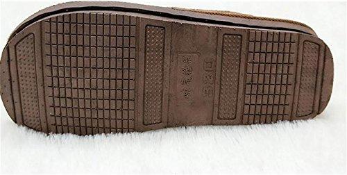 de Mantener Brown Antideslizante 46 Piso Calentar Casa 48 Invierno Algodón de Hombres Zapatillas Extra Talla los amp;XY Zapatillas Interior Madera W wtXx7z