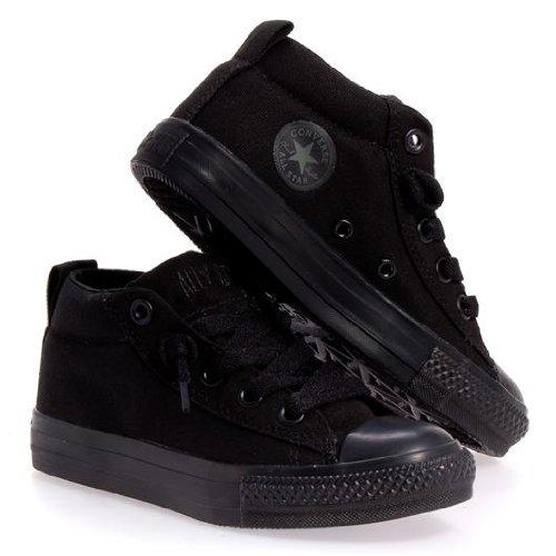 Converse Kids Chuck Taylor Street Cab Mid Fashion Sneaker Shoe - Black Monochrome - Boys - 1