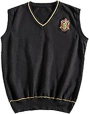 Potter Wizard Design Knit Sweater Vest Sleeveless Loose V-Neck 90s Waistcoat Pullover Knitwear Top Boy Girl Women Men