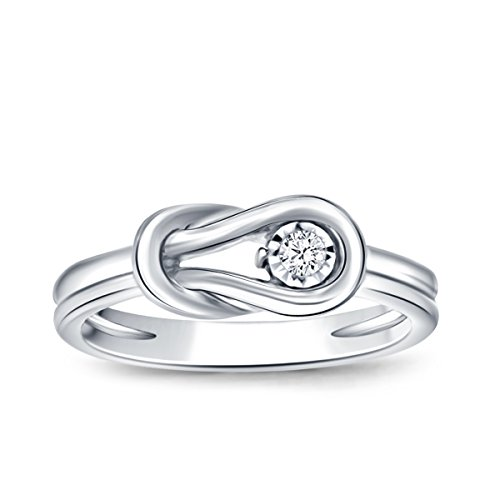 0.05ct Diamond Accent Love Knot Promise Ring in Sterling Silver (IJ/I2-I3) Women US4-US10 ()