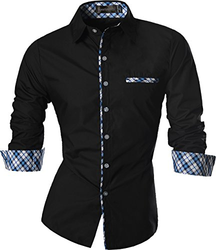 Sportrendy Men's Slim Fit Casual Button Down Shirt JZS071 Black L