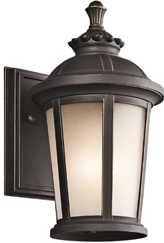 Kichler Lighting 49409RZ Ralston 1-Light  11-Inch  Outdoor Wall Lantern, Rubbed Bronze Finish with Satin Etched White Glass - 11 Wall Lantern