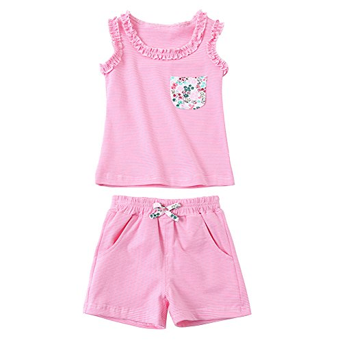 ZHUANNIAN Baby Toddler Girls 2 Piece Shorts Sets Cotton Tank Tops Summer Outifts (Pink, 2-3t) -