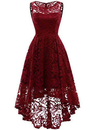 MUADRESS 6006 Vintage Floral Lace Sleeveless Hi-Lo Cocktail Formal Swing Dress XL DarkRed