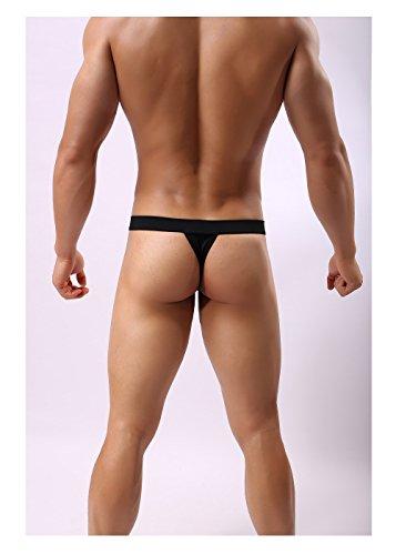 Coton Qirui Sous-vêtements Purs Hommes De Couleur Douce T-back De Jockstrap Noir