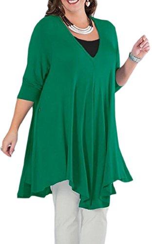 Jaycargogo Womens Manches Longues V Cou Robe Casual Chemise Lâche Ourlet Irrégulier Vert T