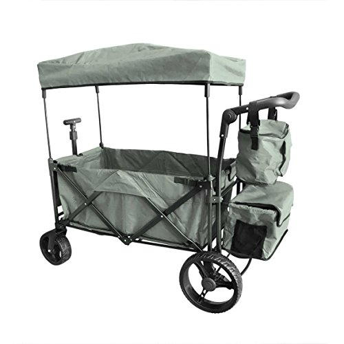 (Grey Push and Pull Handle with Wide Off Road All Terrain Tires Beach Outdoor Sport Collapsible Folding Stroller Wagon Baby Trolley W/Canopy Garden Utility Shopping Travel CARTFREE Carrying Bag)