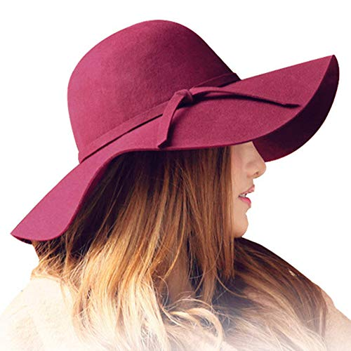 ASSQI Women's Foldable Wide Brim Beach Retro Fedora Floppy Wool Felt Hat Vintage Red