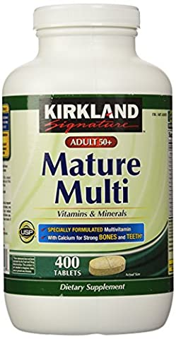 Kirkland Signature Adults, 50 plus Mature Multi Vitamins & Minerals, 400-Count Tablets (Mature)