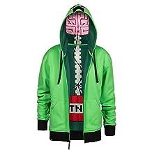 Minecraft Creeper Anatomy Youth Green Premium Zip-Up Hoodie, X-Small