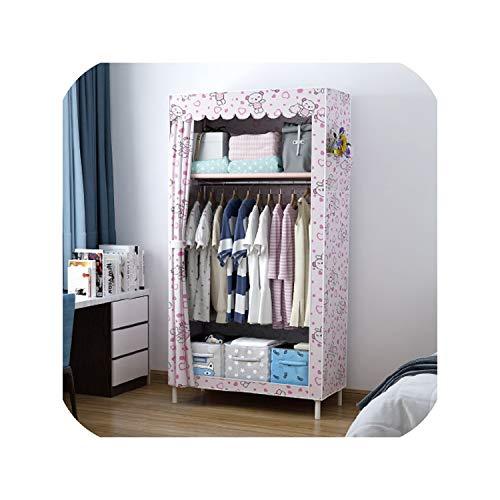 Hi Monkeys-closet-storage-and-organization-systems Simple Wardrobe Dormitory Modern Economic Assembled Cloth Wardrobe Receiving Cabinet Single Steel Tube Cloth Art Wardrobe,Cute Bear