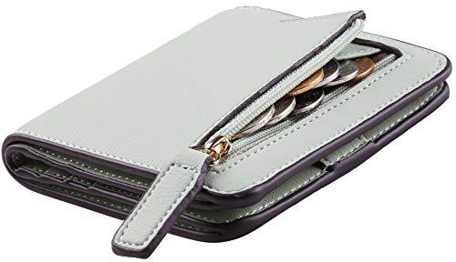 (NapaWalli Womens Rfid Blocking Small Compact Bifold Luxury Genuine Leather Pocket Wallet Ladies Mini Purse with ID Window(ReNapa Green Light))