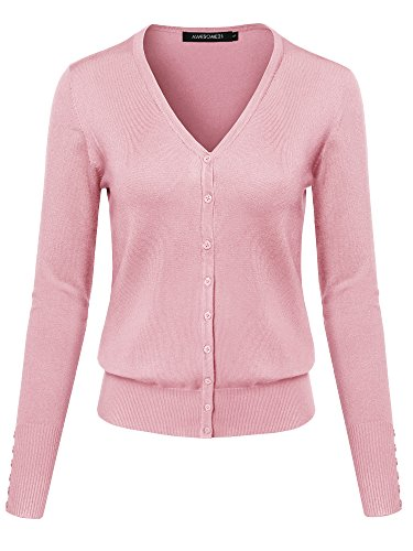 Basic Solid V-Neck Button Closure Long Sleeves Sweater Cardigan Baby Pink M ()