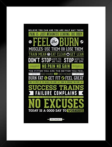 Burns Framed Print - Pyramid America Gym Feel The Burn Motivational Matted Framed Poster 20x26 inch