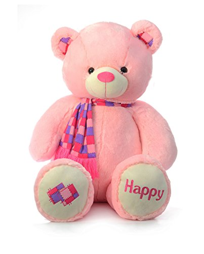 Dimpy Stuff Bear with Scarf, Pink (70cm)