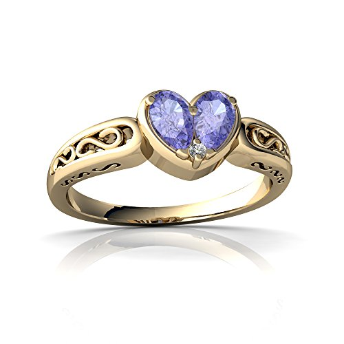 14kt Yellow Gold Tanzanite and Diamond 5x3mm Pear filligree Heart Ring - Size 9