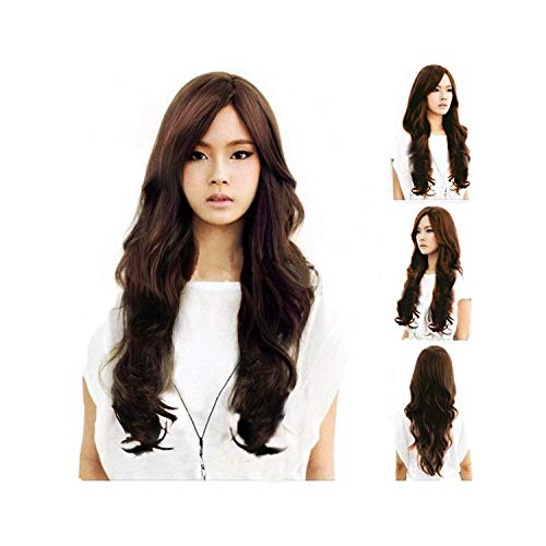 TopWigy Dark Brown Wig for Women Long Curly Wave Synthetic Heat Resistan Side Bang Party Wig (Dark Brown) -