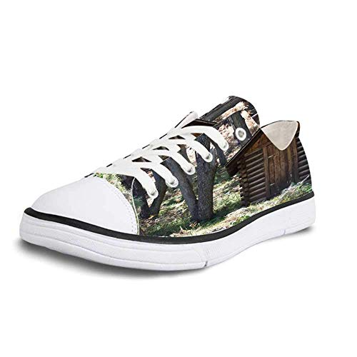 Canvas Sneaker Low Top Shoes,Outhouse Wooden Primitive Life Barn Shed in Spring Forest Leaves Lumberjack Photo Women 9/Man 6.5 ()