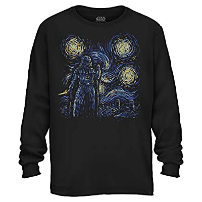 Starry Night Darth Vader Van Gogh Adult Men's Graphic Apparel Long Sleeve Shirt