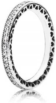 Pandora Ring-54 Women 190963CZ Silver Pandora Hearts