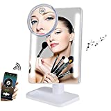 Fenchilin Bluetooth Mirror 20 LED Lights Makeup Mirror with USB Charger Cable,Wireless Audio Speaker & Removable 10X Magnifier,180 Rotation Vanity Mirror with Lights