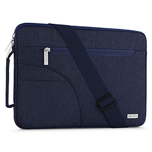 MOSISO Laptop Shoulder Bag Compatible with 2019 MacBook Pro 16 inch, 15 15.4 15.6 inch Dell Lenovo HP Asus Acer Samsung Sony Chromebook, Polyester Briefcase Sleeve with Side Handle, Navy Blue