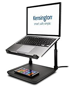 Kensington SmartFit Ergonomic Laptop Riser for up to 15.6-Inch Laptops with Qi Wireless Phone Charging Pad (K52784WW)