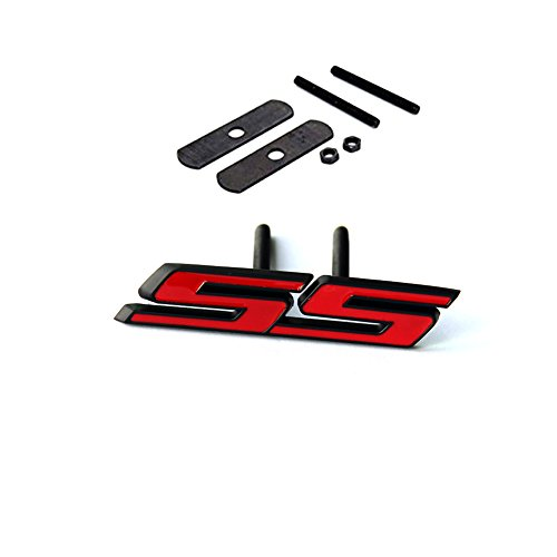 Sanucaraofo 1pc OEM Black Grille Ss Emblem 3D Badge for Camaro Ss Sierra Flat Matte Red ()