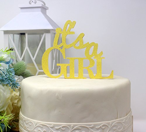 All About Details CATIAGIGPY Girl Cake Topper (Glitter Pastel Yellow), 6in wide and 5in tall with 2-pcs of 4in wood skewers by All About Details (Image #4)