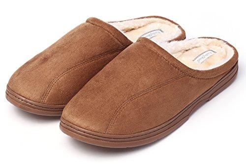 KushyShoo Men's Indoor Outdoor Cozy Clog Slippers Tan (Best Developing Fake Tan)