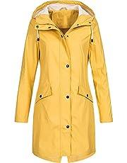 moonmisuni Dames buiten winddicht waterdicht knoop mantel met solide capuchon regenjas zak met capuchon regenjas