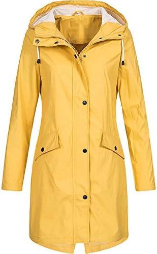 Jacket Coat,Outwear Womens Solid Rain Jacket Outdoor Hoodie Waterproof Long Coat Overcoat Windproof Army Green Pandaie Womens ..