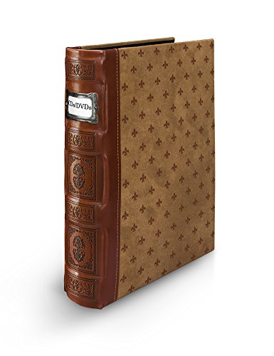 Bellagio-Italia Cognac DVD Storage Binder - Stores Up To 48 DVDs, CDs, or Blu-Rays - Stores DVD Cover Art - Acid-Free Sheets (Dvd Storage Store)