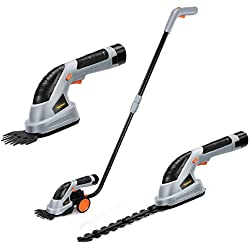 VonHaus 2 in 1 Cordless Grass Shears Hedge Trimmer Handheld Wheeled Extension Handle, Gray, 2-in-1