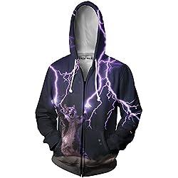 Beloved Shirts Lightning Cat Zip Up Hoodie - Premium All Over Print Jacket Sweatshirt - Medium