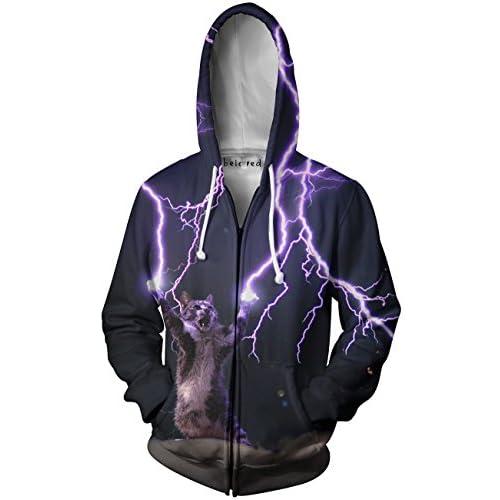 c7ad17eb3 Beloved Shirts Lightning Cat Zip Up Hoodie - Premium All Over Print Jacket  Sweatshirt best