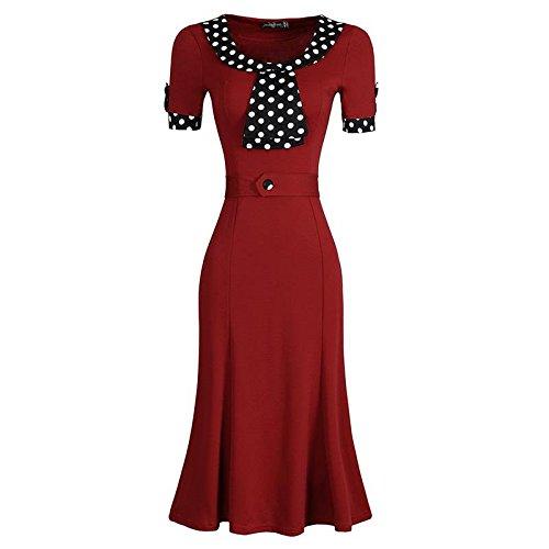 Jeansian Mujer Casual Dama De Oficina Costura Manga Corta Cremallera Vestidos De Noche Bodycon Pencil Rodilla Negocios Dresses WKD276 Red